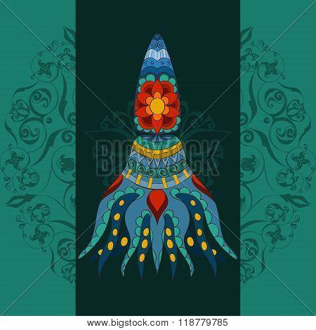 Hand drawn calmar. calmar dark background, calmar in tribal. Doodle calmar.  Colored calmar with tal