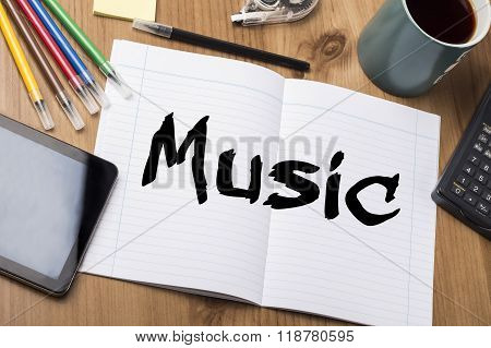Music - Note Pad With Text