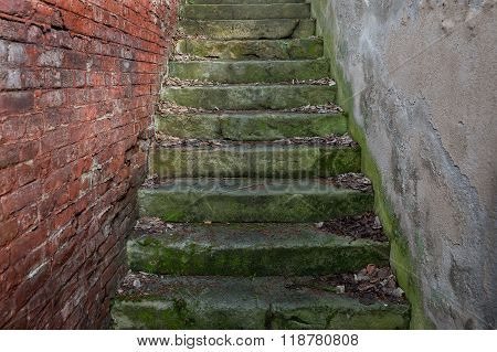 Concrete Stairs Between The Brickwork And Mortar Wall