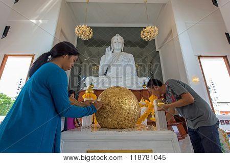 People Visit Wat Ku To Sacred Golden Ball