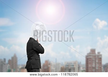 Man Side View With Lamp Head Thinking In Sunny Day