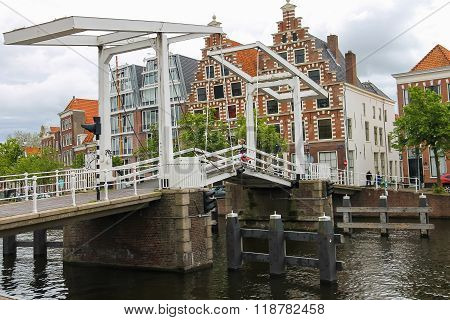 Drawbridge Over Spaarne River In Haarlem, The Netherlands