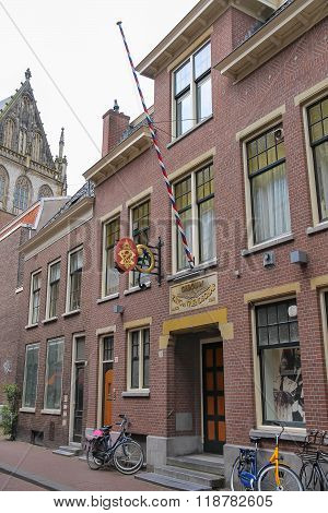 Facade Of Old Building On Jansstraat Street In The Historic City Centre. Haarlem, The Netherlands