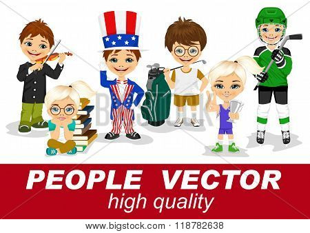 people vector with children's characters