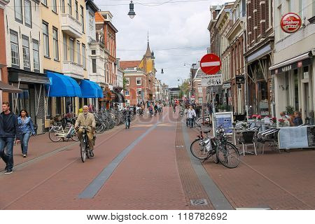 Tourists On Kruisstraat Street In The  Historic Center Of Haarlem, The Netherlands