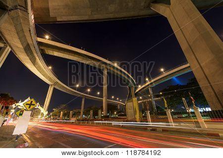 Light Trail Under Bhumibol Bridge