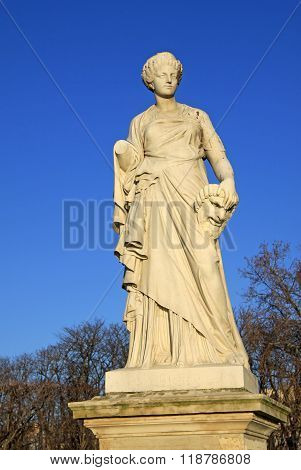 Paris, France -18 December 2011: Sculpture In Jardin Des Tuileries (tuileries Garden), Paris, France