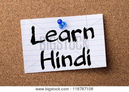 Learn Hindi - Teared Note Paper Pinned On Bulletin Board