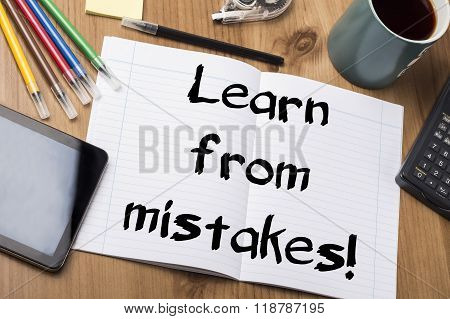 Learn From Mistakes! - Note Pad With Text