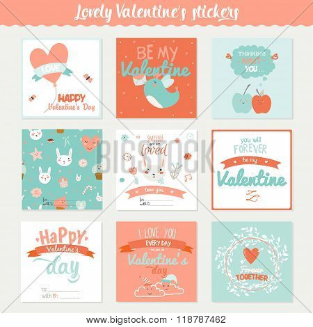 Set Of 9 Square Valentines Day Gift Tags