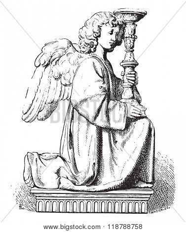 Statue by Michelangelo, vintage engraved illustration. Magasin Pittoresque 1873.