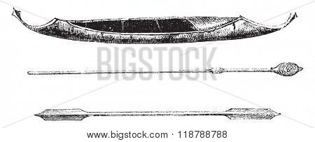 Birchbark canoe Tungus of central Amour; below, oars, vintage engraved illustration. Magasin Pittoresque 1873.