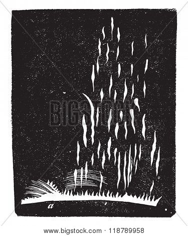 Solar explosion, vintage engraved illustration. Magasin Pittoresque 1876.