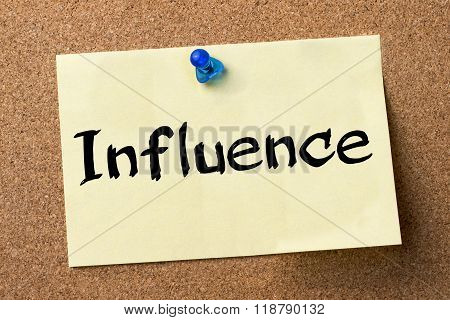 Influence - Adhesive Label Pinned On Bulletin Board