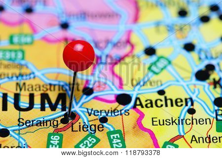 Liege pinned on a map of Belgium