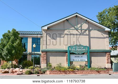 ST. GEORGE, UTAH - AUGUST 15, 2015: The St. George Art Museum, Pioneer Center for the Arts. The building that houses the museum was built in the 1930's to store beet seed for a sugar beet factory.