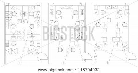 Standard office furniture symbols set