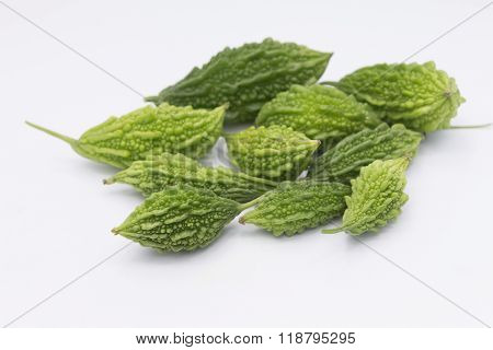 Green Momordica Or Karela With Leaf Isolate On White Bacground