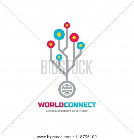 World connect - vector logo concept illustration. Web logo sign. Internet logo sign. Technology logo
