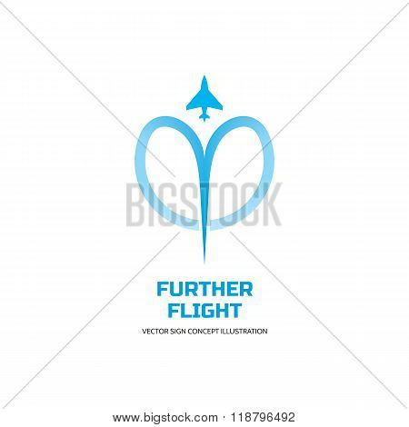 Further flight - vector logo concept illustration. Airplane logo sign. Aircraft logo sign.