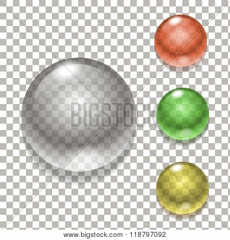 Set of colorful glass spheres, illustration