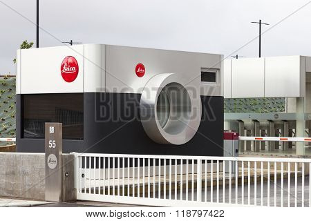 Vila Nova de Famalicao, Portugal. March, 2013: Entrance of the new factory of the iconic Leica in Portugal, shaped as a camera. Inaugurated in March 2013, after 40 years in the previous facilities.