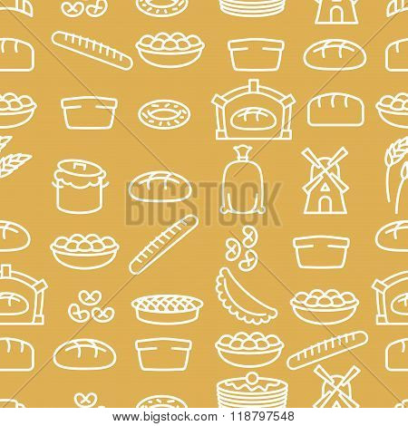 Bread And Bakery Products Seamless Pattern. Bakery Items. Background From Food. Baguette And Pancake