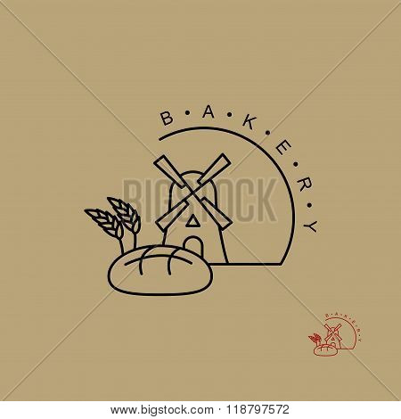 Bakery Logo. Line Emblem For Bread Store. Windmill And Bread. Ears Of Wheat. Sign For Production Of