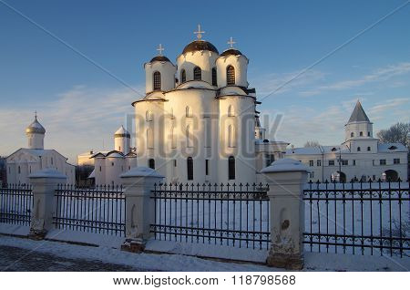 Veliky Novgorod, Russia - January, 2016: Architectural Ensemble Of Aged Medieval Churches Of Saint N