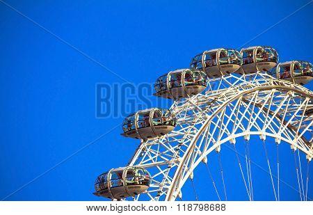 London Eye On Blue Sky Background.
