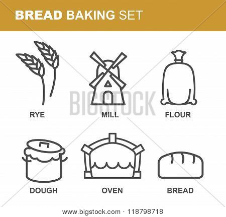 Bread Baking Set Of Icons. Bread Production Line. Rye And Flour Mill. Textile Bag With Flour. Tests