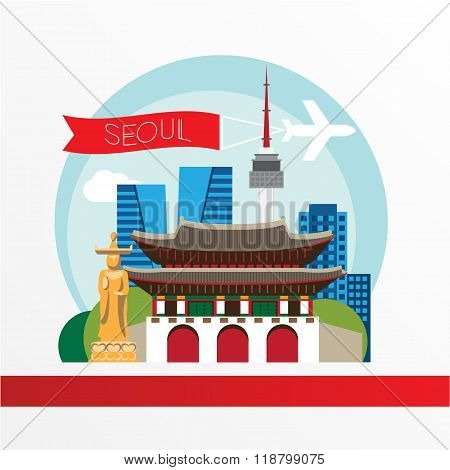 Seoul, Detailed Silhouette. Trendy Vector Illustration, Flat Style. Stylish Colorful  Landmarks