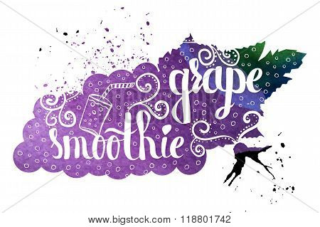 Colorful Watercolor Print Of The Pattern On The Silhouette Of A Vegetarian Fruit. Grape Nutritious S