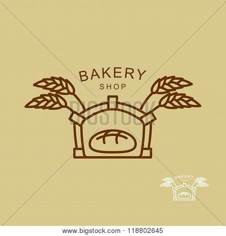 Emblem Of  Bakery Shop. Fresh Bread And Wheat Spikes. Oven For Baking Bread. Line Logo Store