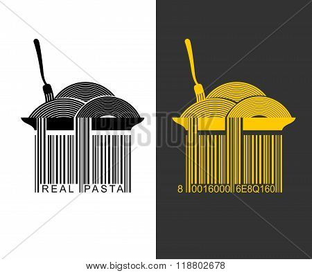 Spaghetti Bar Code. Ean-13 Barcode Pasta. Creative Mark For Packaging Pasta. Plate With Pasta. Spagh