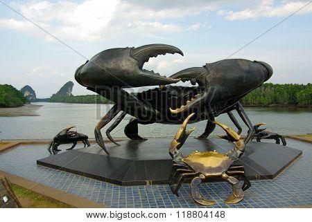Krabi, Thailand - January,  2014: Statue Of Crabs In Krabi - Symbol Of Town