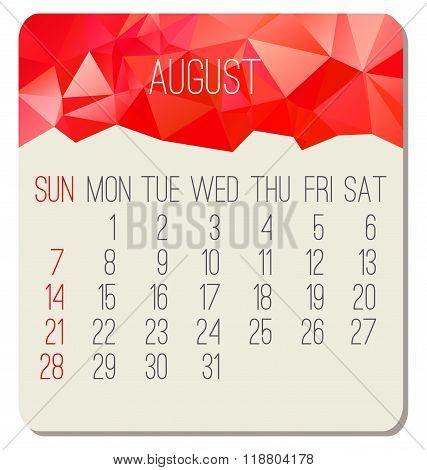 August 2016 Monthly Calendar