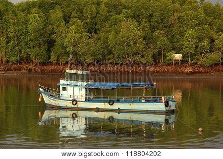 Krabi, Thailand - January,  2014: The Boat At The River Krabi