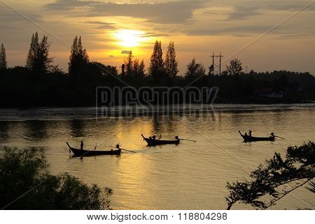 Krabi, Thailand - January,  2014: Traditional Thai Boat On The River Krabi In The Early Morning At D