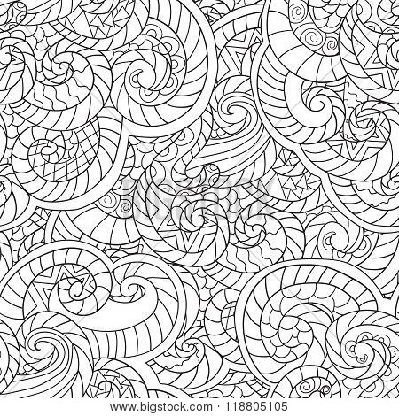 Coloring For Adults. Seamless Pattern From Wavesvector Seamles Pattern In White And Black Colors Wit