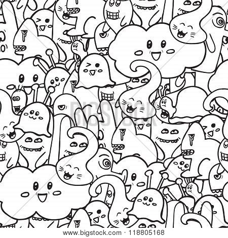 Doodle Vector Seamless Pattern With Monsters. Funny Monsters Graffiti. Can Be Used For Backgrounds,