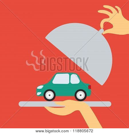 Hand car salesman or a waiter holding a plate of hot offer - new
