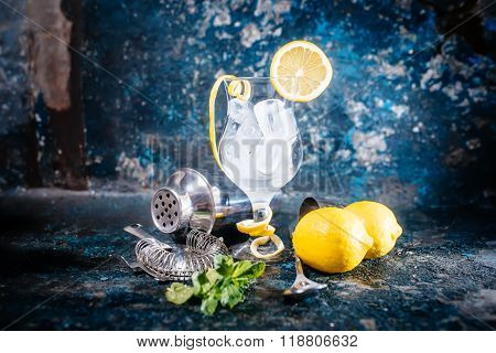 Fresh Cocktail Glass Ready For Beverage. Barman Preparing Cocktail At Bar, Pub Or Restaurant