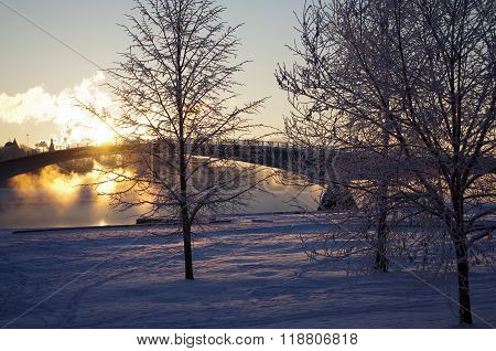 Sunrise On The Volkhov River In Veliky Novgorod, Russia