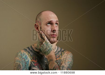 Sexy tattooed man portrait