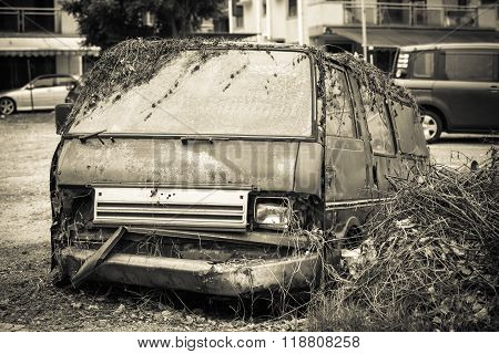 Rusty Abandoned Old Van Of Country House