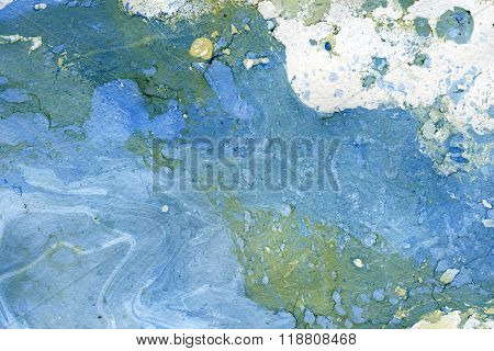 Abstract seamless watercolour aquarelle hand drawn wash drawing arty grunge creative blue gray white splatters blots and blobs paper texture on multicolored background horizontal picture