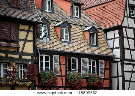 Half-timbered Facades In Colmar