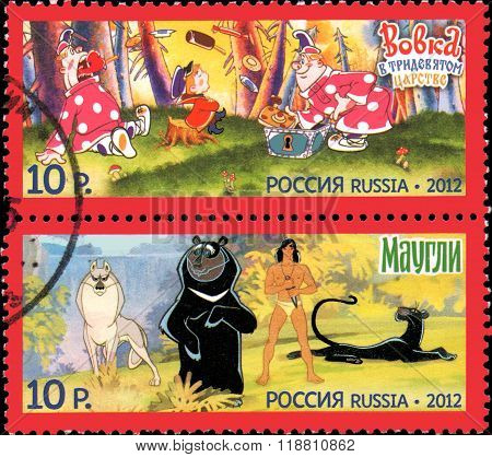 Russia - Circa 2012: A Stamp Printed In Russia Shows  Series Heroes Of Domestic Cartoos