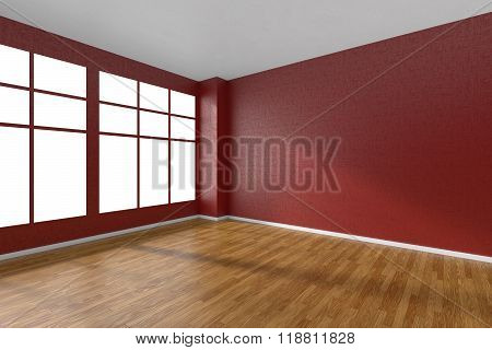 Empty Room With Parquet Floor, Textured Red Walls And Window